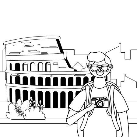 Rome coliseum landmark design, Travel trip vacation tourism and journey theme Vector illustration