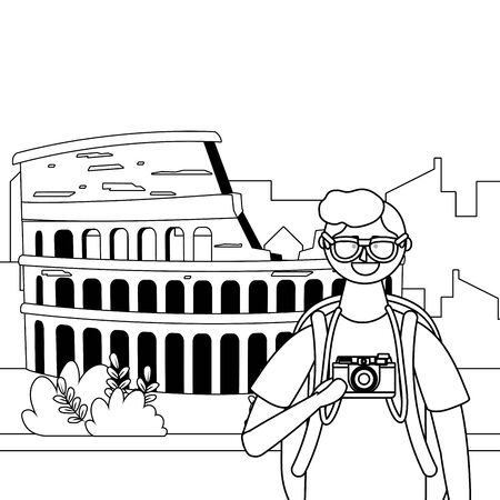 Rome coliseum landmark design, Travel trip vacation tourism and journey theme Vector illustration