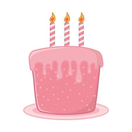 birthday cake with candles lit vector illustration graphic design Vector Illustration