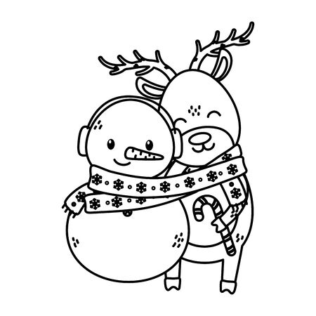 reindeer and snowman with scarf candy cane celebration merry christmas vector illustration thick line