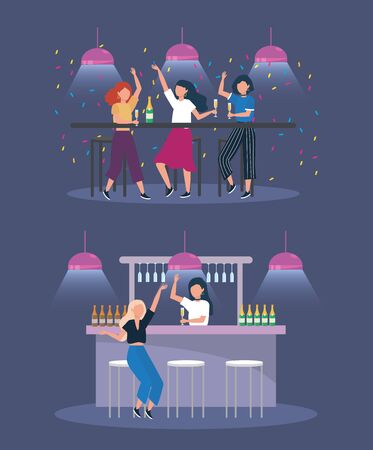 set of women with lights and champagne bottles to party celebration vector illustration