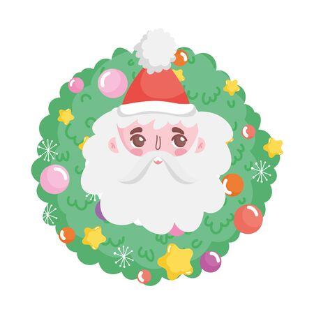 santa face wreath balls merry christmas vector illustration Vektorové ilustrace