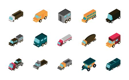 transport car truck vehicles isometric icons set vector illustration