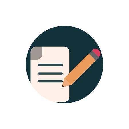 digital marketing paper pencil writing vector illustration