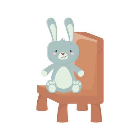 kids toy, cute rabbit sitting on chair on white background vector illustration Vector Illustration