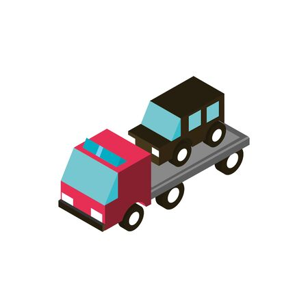 car towing truck service transport vehicle isometric icon vector illustration
