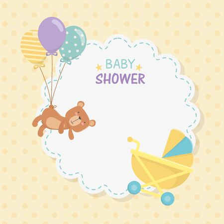 baby shower lace card with little bear teddy and balloons helium vector illustration Ilustração