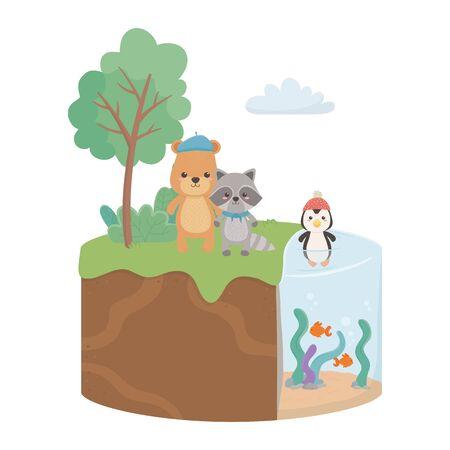 Ber raccoon and penguin cartoon design, Animal cute zoo life nature and fauna theme Vector illustration