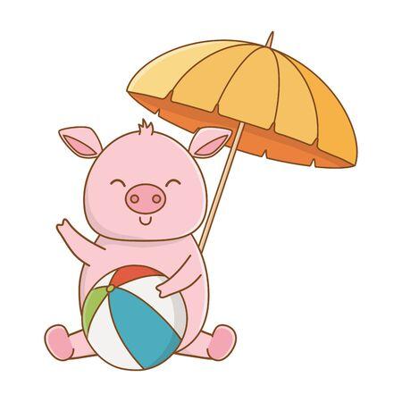 vacances d'été temps de détente scène de vacances à la plage mignon petit cochon animal heureux jouant avec ballon sous parapluie dessin animé illustration vectorielle conception graphique