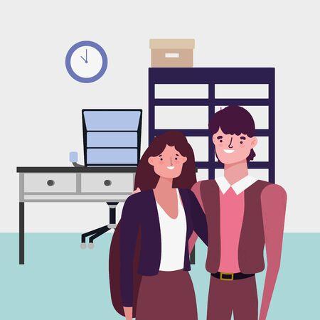 Diseño de avatar de empresario y empresaria