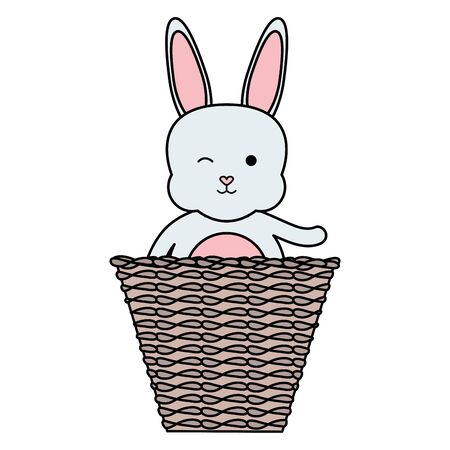 cute little rabbit with basket straw
