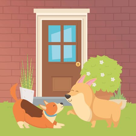 Dogs cartoons design vector illustration