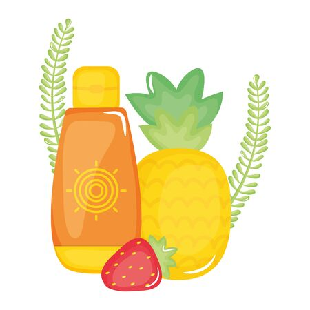 sun blocker bottle with pineapple and strawberry