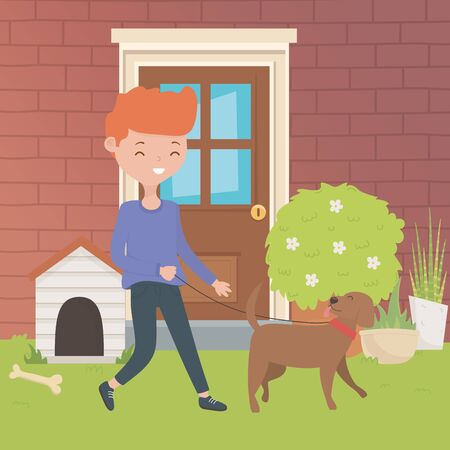 Boy with dog cartoon design illustration