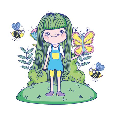 beautiful girl with bees in the field characters characters vector illustration design Illustration
