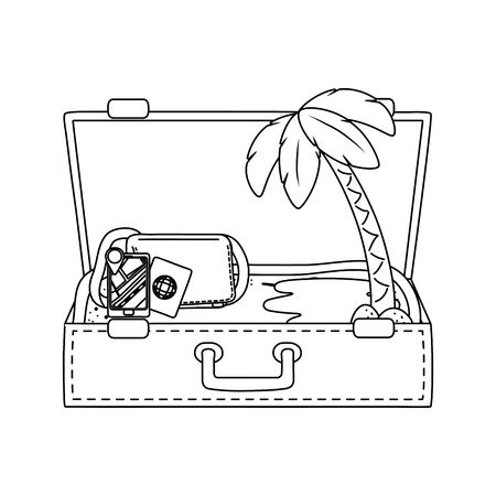 suitcase cartoon summer and travel in black and white