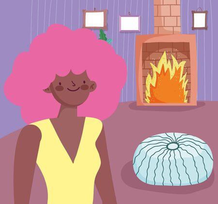 Woman cartoon in home room vector design