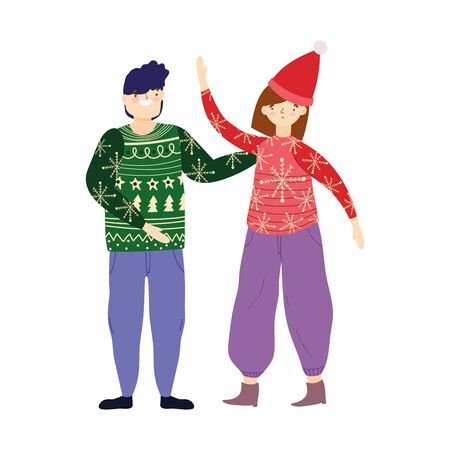 merry christmas couple with ugly sweater and hat celebration vector illustration