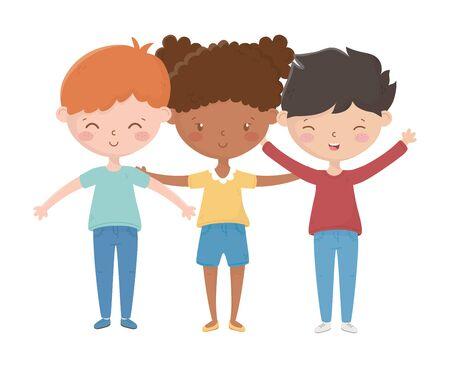 Girl and boys cartoons vector design 矢量图像