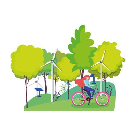 ecology woman riding bike wind turbine and solar panel park vector illustration