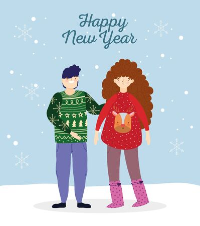 happy new year couple with ugly sweaters in the snow