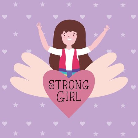 Girl cartoon design, Power strong woman female feminism freedom and fight theme Vector illustration Vectores