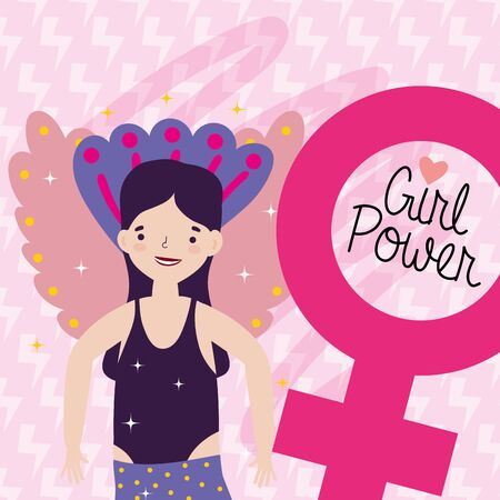 Girl cartoon of power and strong concept vector design