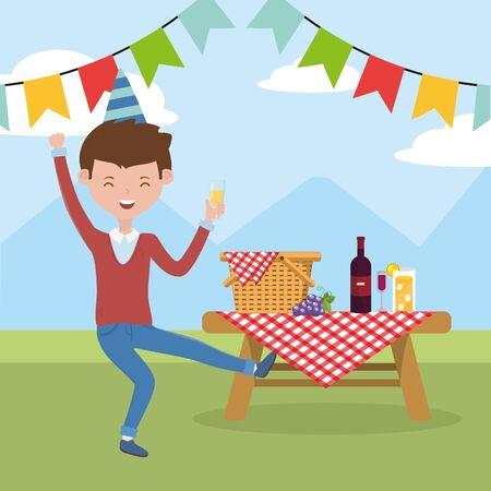 Caricature de l'homme ayant la conception de pique-nique, fête de la nourriture d'été loisirs de plein air sain déjeuner de printemps et thème de repas Illustration vectorielle