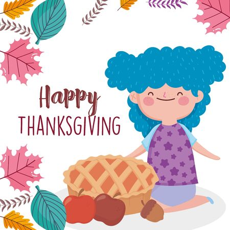 happy thanksgiving day smiling girl with cake apples acorn fall leaves vector illustration Ilustrace
