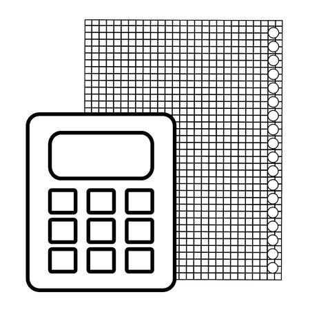 Hoja de papel de cuaderno con calculadora, diseño de ilustraciones vectoriales