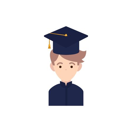 student boy with hat graduation flat style