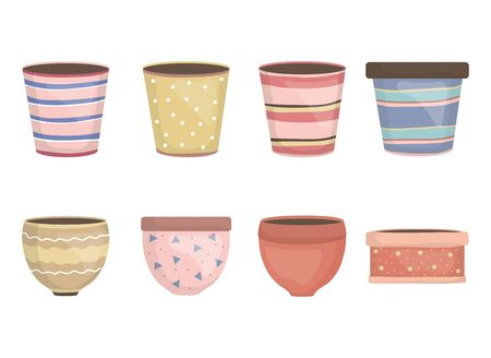 ceramic garden pots decorative icons vector illustration design