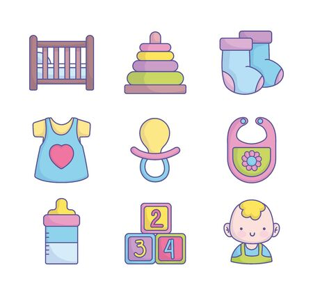 Collection d'icônes d'accessoires de jouets de vêtements de douche de bébé sur l'illustration de vecteur de fond blanc Vecteurs
