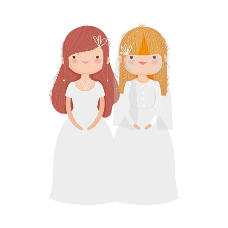 wedding brides women in elegant dress cartoon