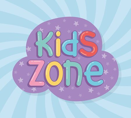 kids zone, bubbles letters sticker sunburst play children vector illustration