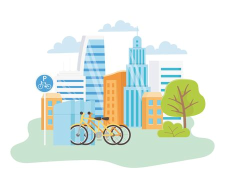 urban ecology parking bicycles transport city park scene vector illustration