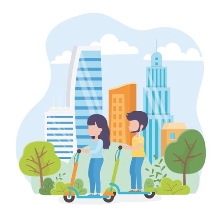 urban ecology young man and woman riding kick scooters in the park town vector illustration