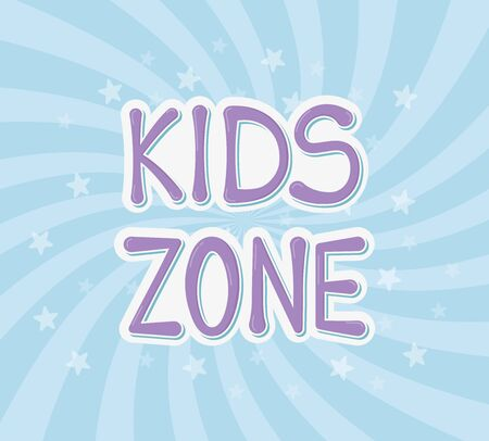 kids zone, purple typography stars blue rays background vector illustration