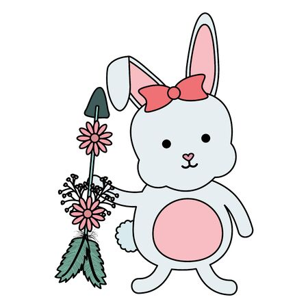 cute little rabbit with flowers and arrows vector illustration design