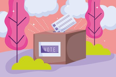 box with ballot politics election democracy voting vector illustration