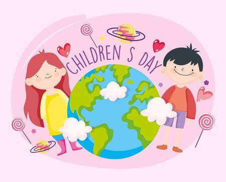 happy children day, little girl and boy world candies celebration