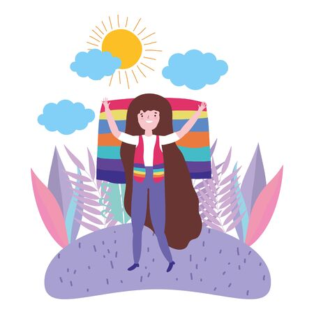 Woman supporting lgbt march design vector illustration