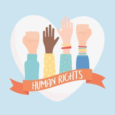 human rights, raised hands in fist stronger gesture vector illustration Иллюстрация