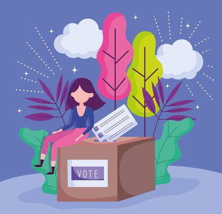 woman sitting on box with ballot politics election democracy voting Stock Illustratie