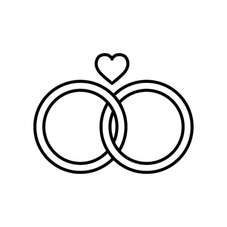 wedding rings line style icon Illustration