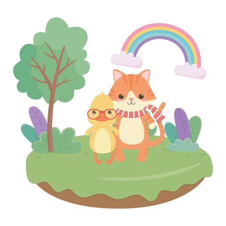 Cat and duck cartoon design