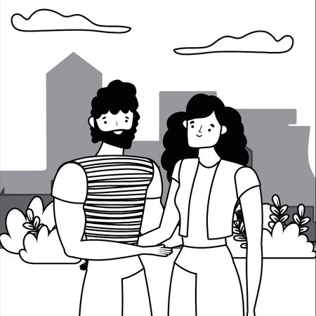 Couple of woman and man cartoon design vector illustration