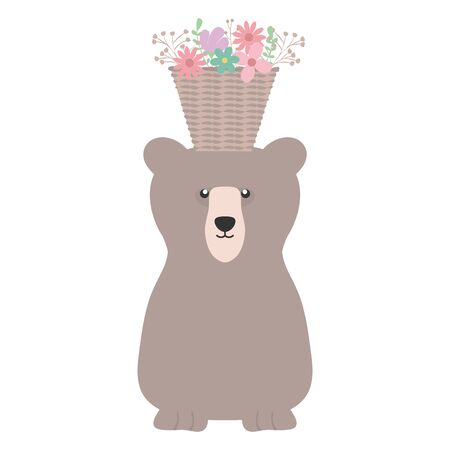 bear grizzly with floral basket bohemian style vector illustration design
