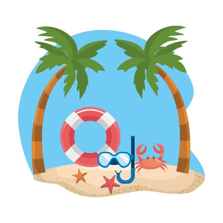 Palm tree and summer icon set design