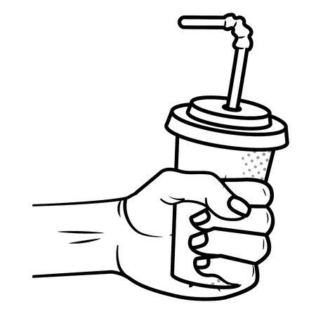 Main tenant une tasse de papier soda avec de la paille noir et blanc vector illustration graphic design Vecteurs